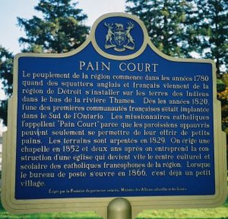 Pain Court, Ontario - A commemorative plaque in the village