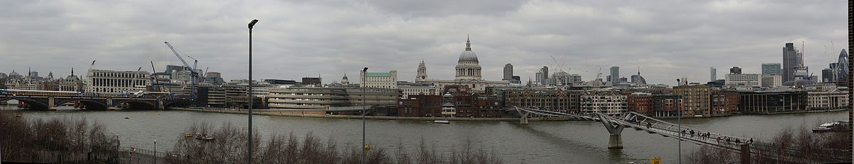 Panorama set fra Tate Modern med Saint Paul's Cathedral i midten.