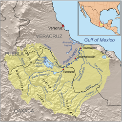 Papaloapan River drainage basin showing Sierra Juarez in the Sierra Madre de Oaxaca