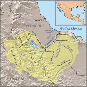 Sierra Juárez, Oaxaca - Image: Papaloapanrivermap