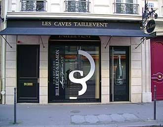 "Taillevent (restaurant) - The wine shop ""Les Caves Taillevent"", n° 199 rue du Faubourg-Saint-Honoré moved to n° 228 in the same street in Paris, France"