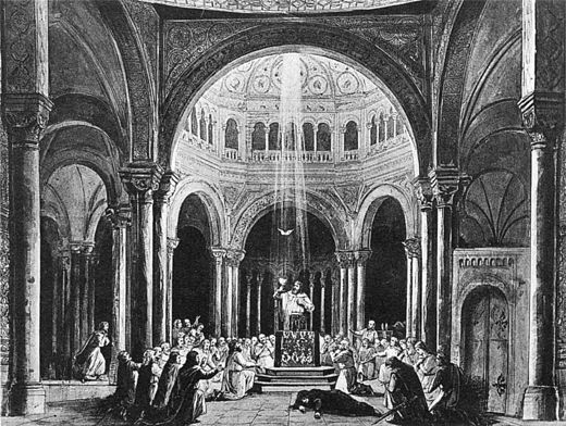 End of act III in the original 1882 production (according to a painting by Theodor Pixis), original design by Paul von Joukowsky Parsifal 1882 Act3 Joukowsky NGO4p119.jpg