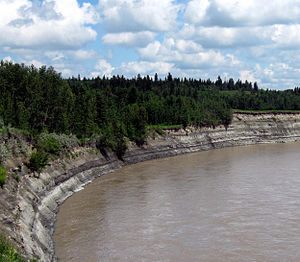 Paskapoo Formation - Mudstones and siltstones of the Paskapoo Formation (Lacombe Member) exposed along the Red Deer River, downstream from its confluence with the Blindman River.