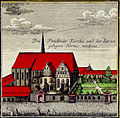 Neue Kirche, coloured engraving from 1949 showing the exterior surrounded by walls and lawn
