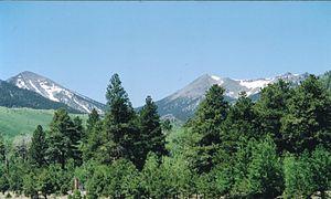 Coconino National Forest - Inner Basin of San Francisco Peaks in the summer. Agassiz Peak at center, and Fremont Peak at left.