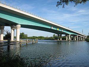 Bundesautobahn 20 - 1100m long A20 motorway bridge crossing the river Peene near Jarmen, Mecklenburg-Vorpommern.