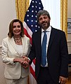 Pelosi with Italian Chamber President Fico at G7 Brest Parlement.jpg