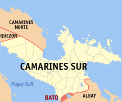 Map of Camarines Sur showing the location of Bato