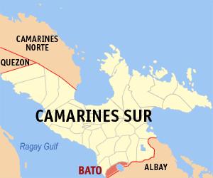 Lake Bato - Map of Camarines Sur highlighting Lake Bato