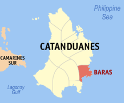 Map of Catanduanes with Baras highlighted
