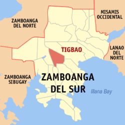Map of Zamboanga del Sur with Tigbao highlighted
