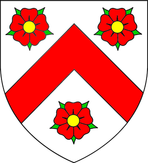 Edward Phelips (speaker) - Arms of Phelips: Argent, a chevron gules between three roses of the second seeded or barbed vert