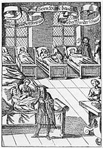 Physician in hospital sickroom printed 1682