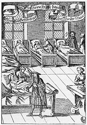 A physician visiting the sick in a hospital. German engraving from 1682.
