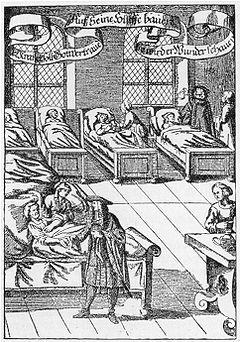 Un medico che fa visita ai suoi pazienti 1682