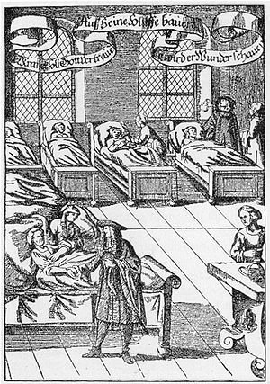 History of hospitals - A physician visiting the sick in a hospital, German engraving from 1682