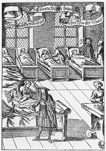 Historian of hospitals, Guenter Risse, says that the Church spearheaded the development of a hospital system geared towards the marginalized. Physician in hospital sickroom printed 1682.jpg