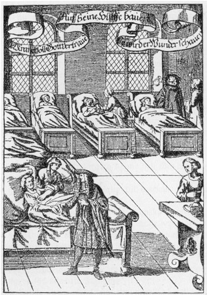 File:Physician in hospital sickroom printed 1682.jpg