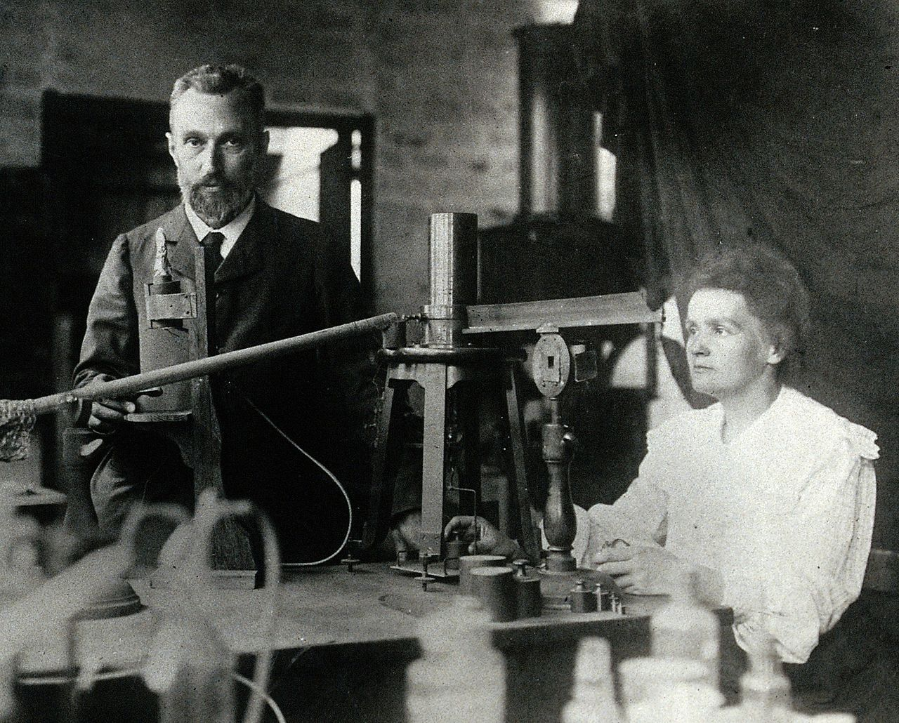 Marie Curie and her husband, Pierre Curie in the year 1904