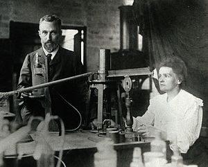 Pierre and Marie Curie in the laboratory