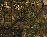 Piet Mondriaan - Willow suspended over the water before farm building and church tower - R.1966,I - Dallas Museum of Art.jpg