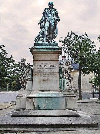 Pitié-Salpêtrière Hospital - Pinel's monument at La Salpêtrière, Ludowig Durand, sculptor, 1885