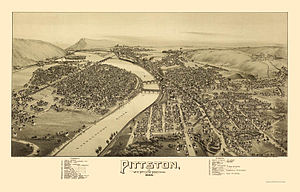 Pittston, Pennsylvania - Pittston as depicted on an 1892 panoramic map