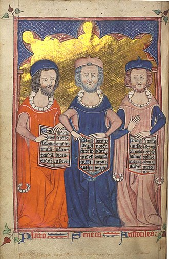 Western world - Plato, Seneca and Aristotle in a medieval manuscript illustration