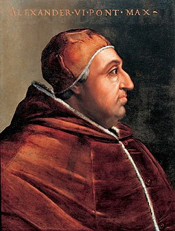 Iberian-born pope Alexander VI promulgated bulls that invested the Spanish monarchs with ecclesiastical power in the newly found lands overseas. Pope Alexander Vi.jpg