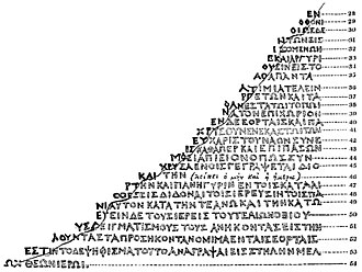 Rosetta Stone - Richard Porson's suggested reconstruction of the missing Greek text (1803)