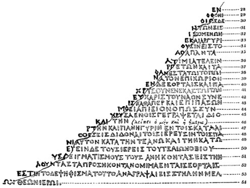 """""""Illustration depicting the rounded-off lower-right edge of the Rosetta Stone, showing Richard Porson's suggested reconstruction of the missing Greek text"""""""