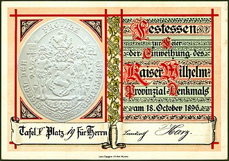 Emperor William Monument (Porta Westfalica) - Place card for the inauguration dinner 1896