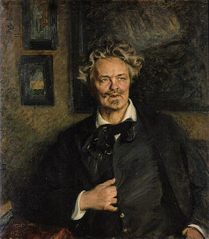 Harriet Bosse - Portrait painting of Strindberg by Richard Bergh, 1905