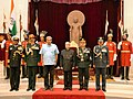Pranab Mukherjee conferred the Honorary Rank of General of the Indian Army to the Chief of the Army Staff, Napalese Army, General Rajendra Chhetri, at Rashtrapati Bhavan, in New Delhi. The Union Minister for Defence.jpg