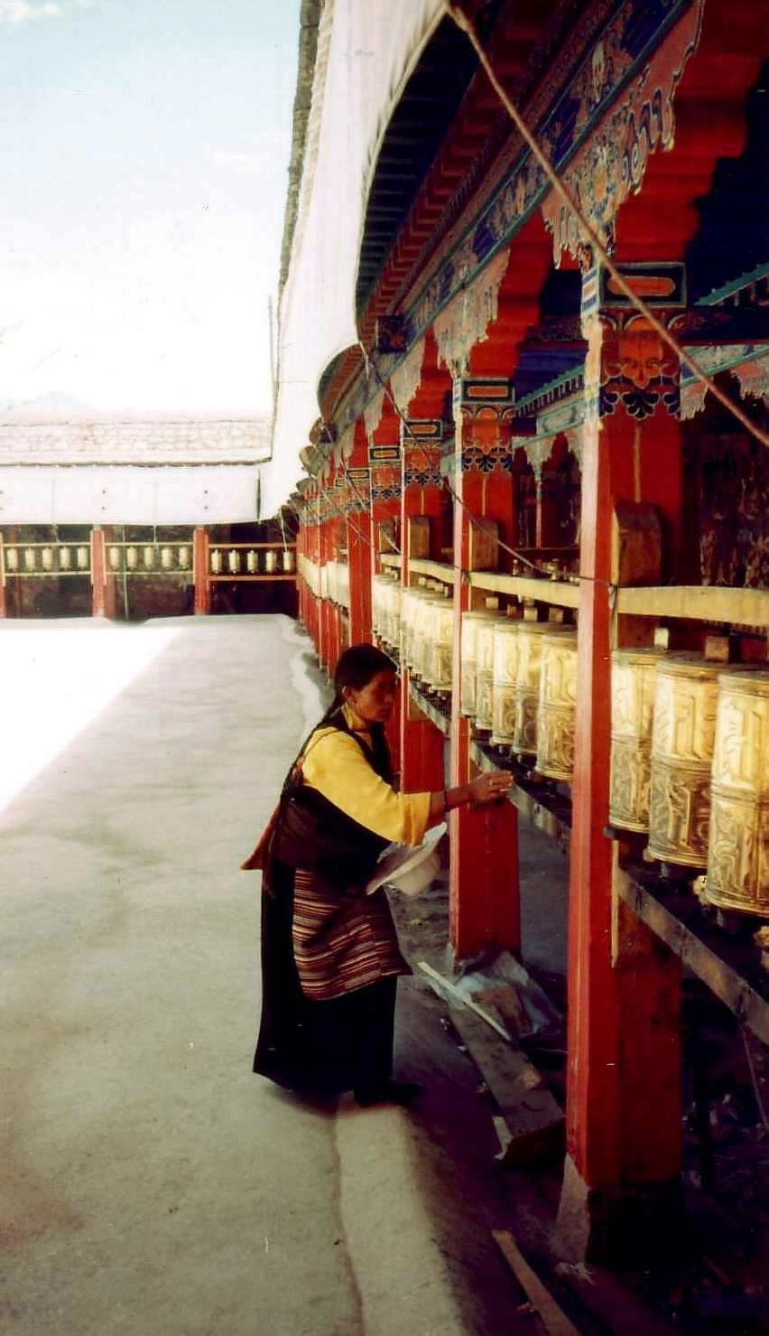 Prayer wheels at Nechung Chok