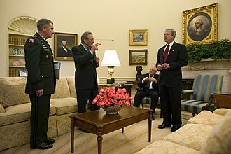John Abizaid - Abizaid with President George W. Bush, Vice President Dick Cheney, and Defense Secretary Donald Rumsfeld in the Oval Office in May 2004