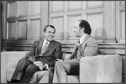 Trudeau in his office in Ottawa with U.S. President Richard Nixon on April 14, 1972 President Nixon with Prime Minister Trudeau of Canada - NARA - 194762.tif