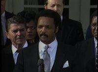 File:President Reagan meeting Lieutenant Goodman and Jesse Jackson in the Rose Garden on January 4, 1984.webm
