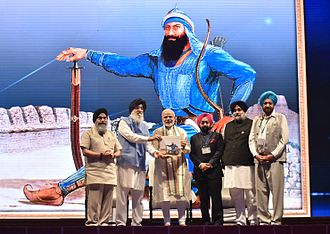 Banda Singh Bahadur - Indian Prime Minister Narendra Modi and Indian Punjab Chief Minister Parkash Singh Badal at the commemorative event to mark the 300th anniversary of the martyrdom of Baba Banda Singh Bahadur.