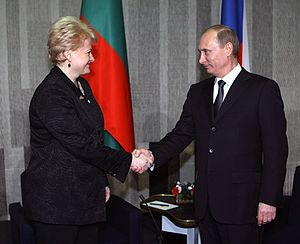 Lithuania–Russia relations - Dalia Grybauskaitė with Prime Minister of Russia Vladimir Putin in Helsinki, Finland on 10 February 2010.