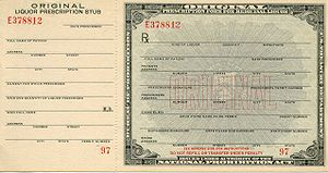 Prohibition - Prescription form for medicinal liquor