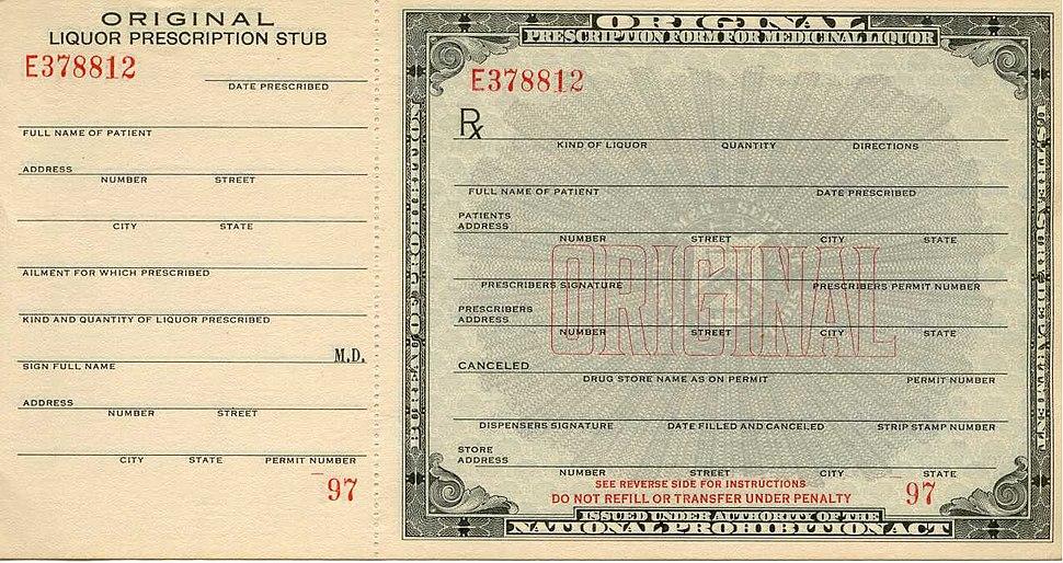 Prohibition prescription front
