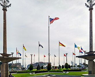 States and federal territories of Malaysia - All Malaysia and its states' flags at Putra Square, Putrajaya