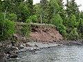 Quartz tholeiite basalt lava flows (flow B over flow A, Two Harbors Basalts, North Shore Volcanic Series, Mesoproterozoic, 1097-1098 Ma; Burlington Bay, Two Harbors, Minnesota, USA) 2 (22422886886).jpg