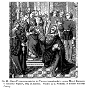 Fredegund - Fredegund, seated on her throne, gives orders to assassinate Sigebert, King of Austrasia, steel engraving after a 15th-century window in the Cathedral of Tournai.