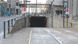 Queens Quay station - Ramp between Queens Quay West and the station level in 2009
