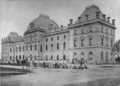 Queensland State Archives 3376 Parliament House erection of balconies on George Street frontage c 1878.png