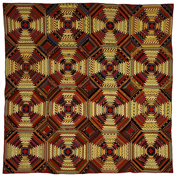 File:Quilt, 'Log Cabin' Pattern, 'Pineapple' variation LACMA M.86.134.18.jpg