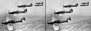Van Hare Effect - Two identical images of a historic photo of a flight of RAF Hawker Hurricanes are placed side-by-side to demonstrate the Van Hare Effect, where a 2D image can be artificially perceived as if it is stereoscopic.
