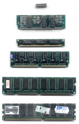 Semiconductor memory - RAM chips for computers usually come on removable memory modules like these.  Additional memory can be added to the computer by plugging in additional modules.
